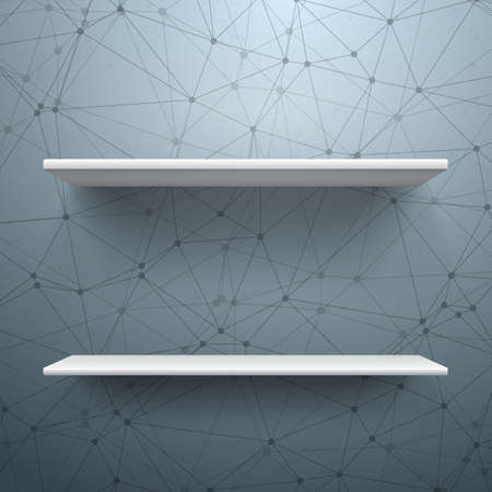 store shelf: Illustration of Realistic Shelf. Empty Shelf for Store, Exhibitions, Shows. Shelf on Wall. Realistic Shelf on Wireframe Technology Connection Background
