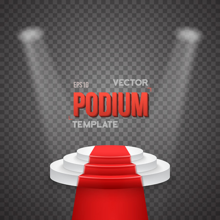 Illustration of Illustration of Photorealistic Winner Podium Stage with Stage Lights and Red Carpet Isolated on Transparent Overlay Background. Used for Product Placement, Presentations, Contests 向量圖像