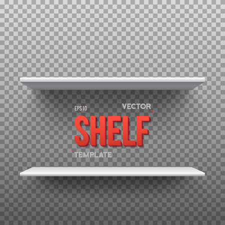 store shelf: Illustration of Realistic Shelf. Empty Shelf for Store, Exhibitions, Shows. Shelf on Wall. Realistic Shelf on Transparent Overlay Background
