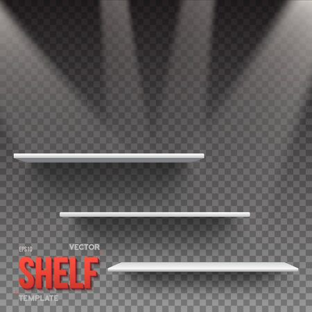 store shelf: Illustration of Realistic Shelf With Transparent Lights. Empty Shelf for Store, Exhibitions, Shows. Shelf on Wall. Realistic Shelf on Transparent Overlay Background