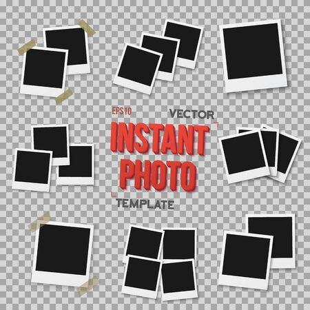 Blank Vintage Photo Frame Mockup on a Transparent Overlay Background
