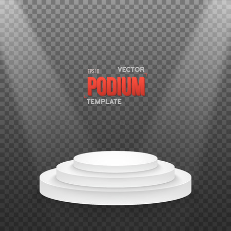 Illustration of Photo realistic Winner Podium Stage with Stage Lights on Transparent Overlay Background