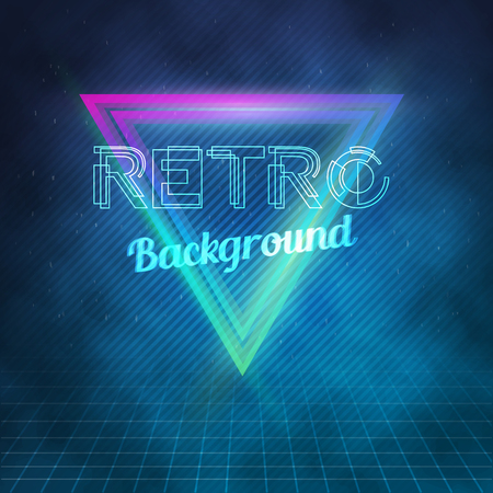 Illustration of  Neon Poster Retro Disco 80s Background