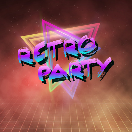 80's: Illustration of 80s Retro Party   Neon Poster. Illustration
