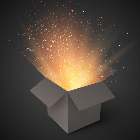 Illustration of Realistic Magic Open Box. Magic Gift Box with Magic Light Comming from Inside