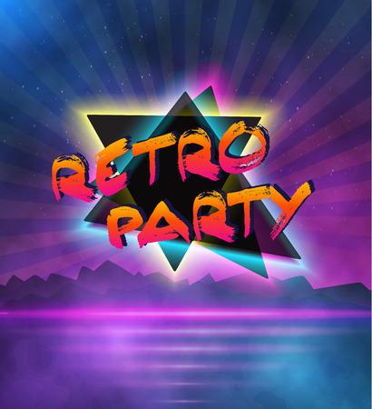 Illustration de style néon fond. 1980 Neon Affiche Illustration. Retro Disco 80s fond avec Triangles, Fusées, Partickles