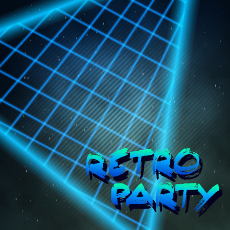 Illustration of Neon Style Triangle Techno Background. Outer Space Poster Illustration. Retro Disco 80s Background Illustration