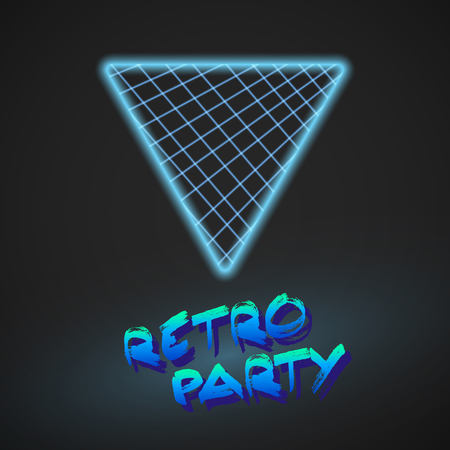 tron: Illustration of Neon Style Triangle Techno Background. Outer Space Poster Illustration. Retro Disco 80s Background Illustration