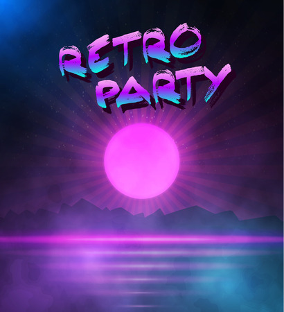 80's: Illustration of Retro Neon Background. 1980 Neon Poster. Retro Disco 80s Background with Triangles, Flares, Partickles