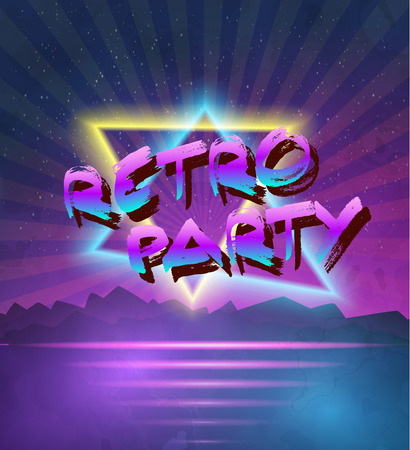 retro disco: Illustration of 1980 Neon Poster Retro Disco 80s Background made in Tron style with Triangles, Flares, Partickles