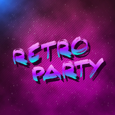 tron: Illustration of 1980 Retro Party Neon Poster Retro Disco 80s Background made in Tron style with Triangles, Flares, Partickles