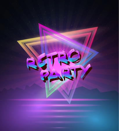 tron: Illustration of 1980 Neon Poster Retro Disco 80s Background made in Tron style with Triangles, Flares, Partickles