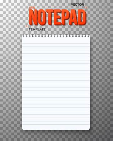 ps: Illustration of Realistic Notepad Office Equipment. White Paper Notepad Isolated on Transparent PS Style Background Illustration