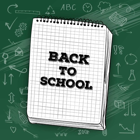 high volume: Illustration of Welcome Back to School Mockup. White Notepad on Writing Chalk Board with Icons