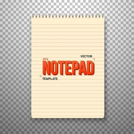 ps: Illustration of Realistic Notepad Office Equipment. Yellow Paper Notepad Isolated on Transparent PS Style Background Illustration