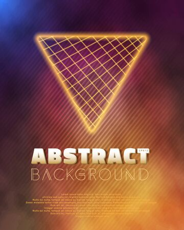 tron: Illustration of Neon Poster Template Retro Disco 80s Background. Into The Future Music Abstract Poster Cover 1980s Style Background