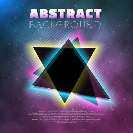 retro future: Illustration of Into The Future Music Abstract Poster Cover 1980s Style Background. Neon Retro Disco Poster Template 80s Background