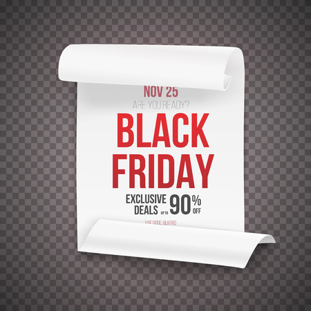 curved ribbon: Illustration of Realistic Black Friday Sale Curved Ribbon Banner Template. Illustration