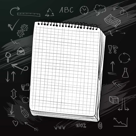 Illustration of White Notepad on Chalk Board with Hand drawn Icons. Welcome Back to School background 일러스트