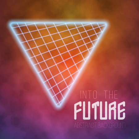 tron: Illustration of Neon Poster Retro Disco Background. Into The Future Vector Poster. Abstract 1980s Style Background