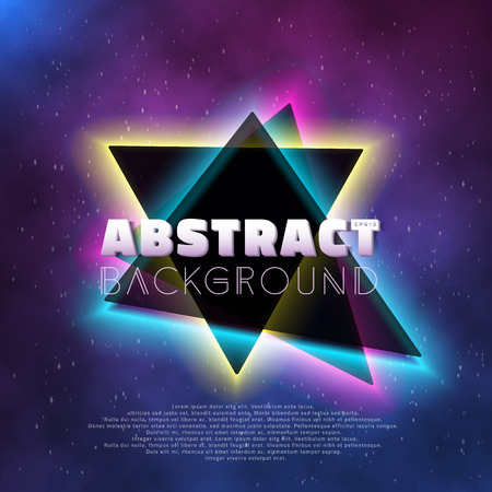 Illustration of Music Abstract Poster Cover 1980s Style Background. Neon Retro Disco Poster Template 80s Background