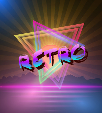 Illustration of Retro Music Abstract Poster Cover 1980s Style Background.