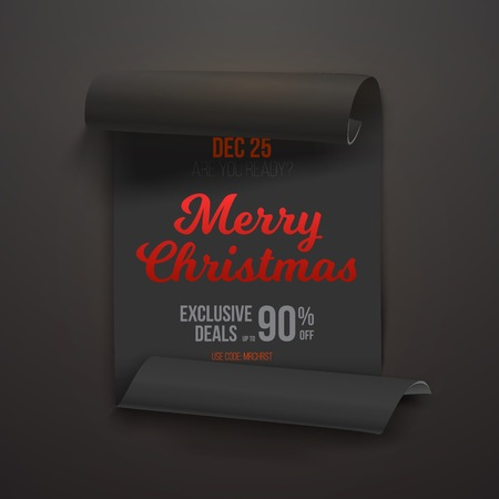 Illustration of Realistic Ribbon Banner Icon. Marry Christmas Scroll Banner Template.