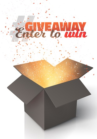 giveaway: Illustration of Vector Box Isolated on White Background. Giveaway Competition Template. Open Box with Confetti Enter to Win Prize Concept