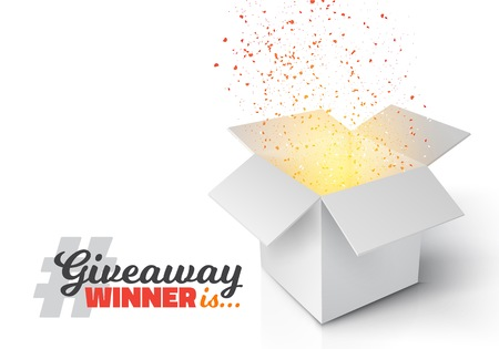 Illustration of Grey Box with Magic Light Coming from Inside. Giveaway Competition Template. Open Box with Confetti Enter to Win Prize Concept