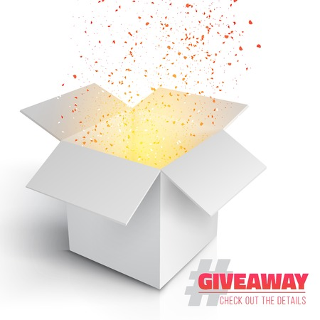 giveaway: Illustration of Grey Box with Magic Light Coming from Inside. Giveaway Competition Template. Open Box with Confetti Enter to Win Prize Concept
