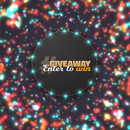 Illustration of Button Giveaway Competition Template. Realistic Button with Blurred Glow Light Enter to Win Prize Concept