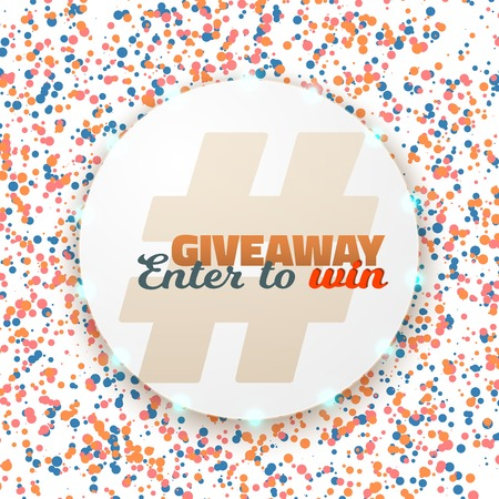 Illustration of Button Giveaway Social Media Promotion Template. Realistic Button with Confetti. Enter to Win Prize Concept