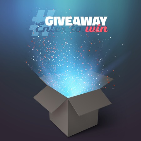 giveaway: Illustration of Box Giveaway Competition Template. Open Box with Confetti and Magic Light Enter to Win Prize Concept