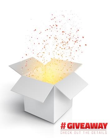Ilustración de la caja gris con luz mágica que viene desde el interior. Plantilla de concurso de sorteo. Open Box with Confetti Enter to Win Premio Concept Ilustración de vector