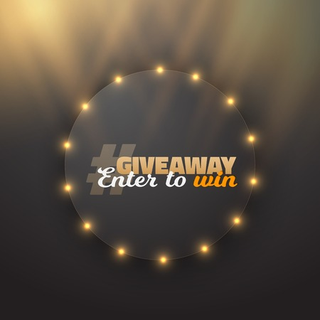 giveaway: Illustration of Vector Button Giveaway Competition Template.