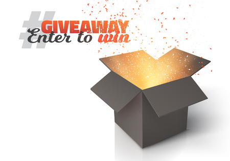 Illustration of  Box Isolated on White Background. Giveaway Competition Template. Open Box with Confetti Enter to Win Prize Concept