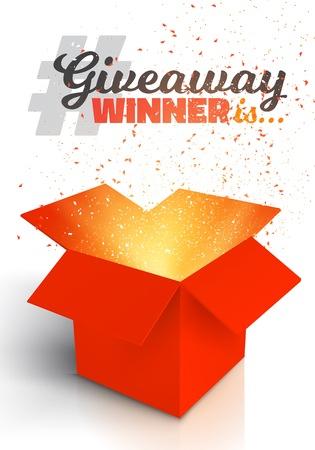 Ilustración de caja de regalo rojo aislado sobre fondo blanco. Abra la caja con confeti. Concurso Giveaway para ganar premio Concept