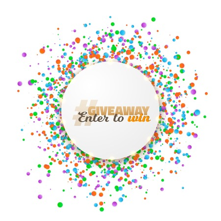 Illustration of Giveaway Competition Template. Realistic Button with Confetti Isolated on White. Enter to Win Prize Concept