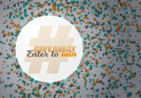 Illustration of Giveaway Competition Template. Realistic Button with Confetti. Enter to Win Prize Concept