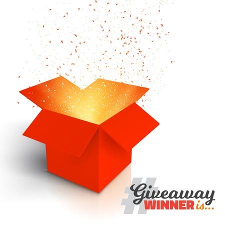 Ilustração da caixa de presente vermelha do vetor isolada no fundo branco. Abra a caixa com confete. Competição de Giveaway entra para ganhar o conceito do prêmio
