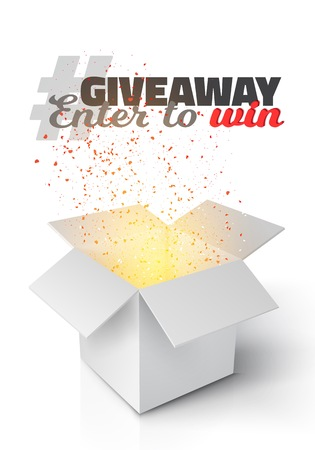 Illustration of Grey Box with Magic Light Coming from Inside. Giveaway Competition Template. Open Box with Confetti Enter to Win Prize Concept Stok Fotoğraf - 73793387