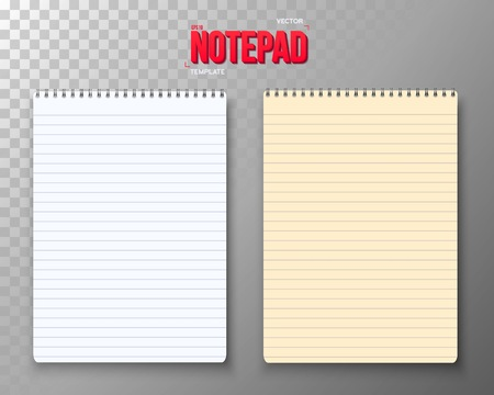 photorealistic: Illustration of Notepad Set. Photorealistic Paper Notebook Template. Used as Office Equipment, School Supply Illustration