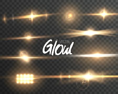 Illustration der Lens Flare Wirkung. Transparente Glow Lens Flare Ray Effekt. Bright Sunflare Explosion Vorlage