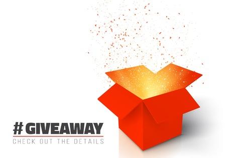Illustration der roten Geschenk-Box isoliert auf weißen Hintergrund. Öffnen Sie das mit Konfetti. Geben Sie Werbegeschenk Wettbewerb zu gewinnen Preis Konzept