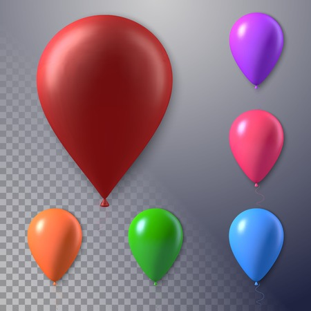 photorealistic: Illustration of Photorealistic Air Balloon Set Isolated on Transparent Background. Happy Birthday Concept