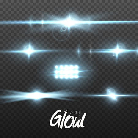 Illustration of Lens Flare Effect. Transparent Glow Lens Flare Ray Effect. Bright Sunflare Explosion Template