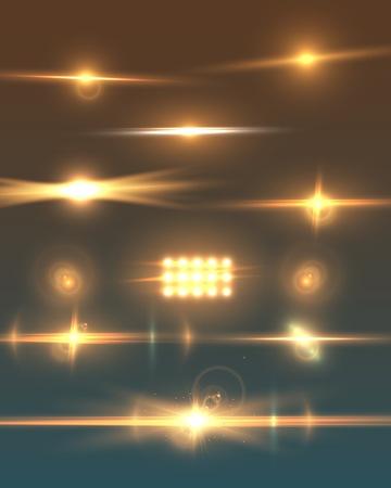Illustration von Blendenfleck. Transparentes Blendenfleck-Effekt-Set. Helle Sonnenfleck-Explosions-Schablone