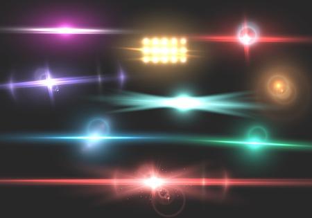 Abbildung des Vektorblendenflecks. Transparenter Vektorblendeneffekt-Effektsatz. Helle Sunflare-Explosionsschablone