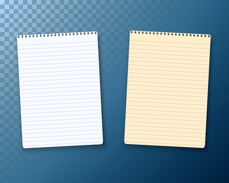 note pad: Illustration of Vector Notepad Set Isolated on Transparent Background. Photorealistic Paper Notebook Template