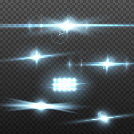 Abbildung des Vektorblendenflecks. Transparenter Vektor-Blendenfleck-Effekt-Satz. Helle Sunflare-Explosionsschablone